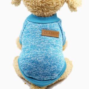 Classic Knitwear Blue Sweater, Small Dog Pet